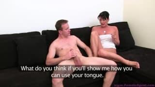Durante seu primeiro casting pornô...