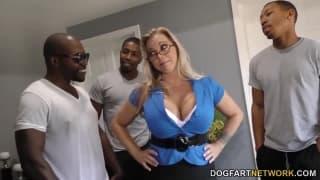 Foxy mature slut gets to pleasure numerous hard dicks in a gangbang  1646340